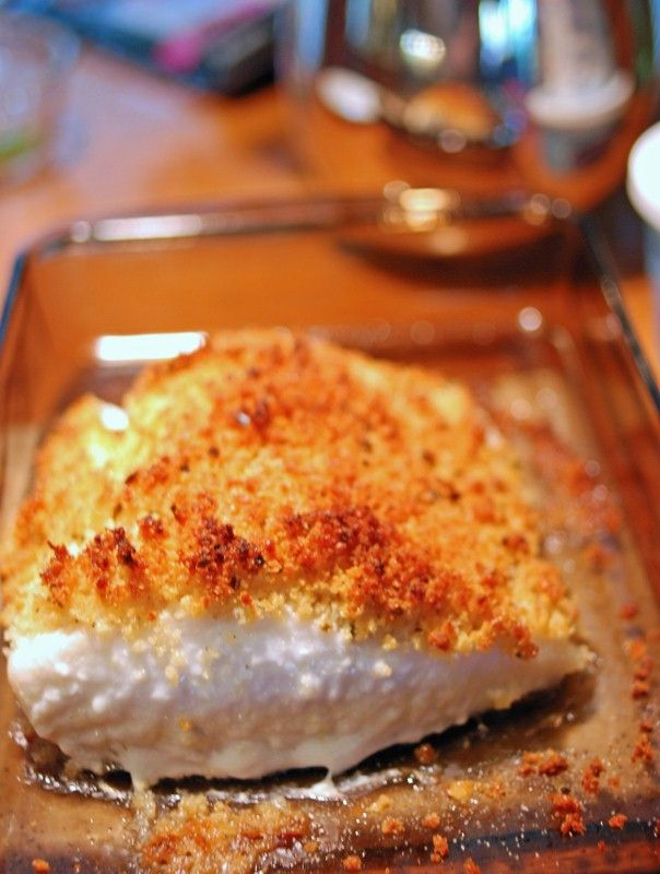 Baked halibut. It was delicious. Really simple and pretty quick dinner. Paired it with salad.