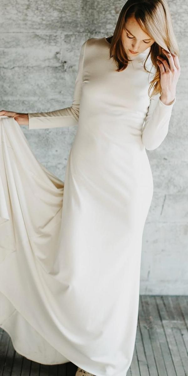 25ae1cc5ed5 Trendy modest simple wedding dress with long sleeves. See more  https