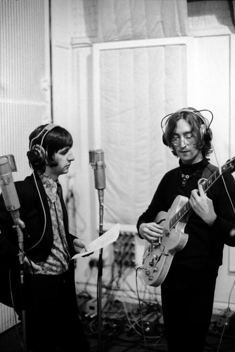"Ringo & John at a recording session for the album ""The Beatles"" (White Album) - The Beatles"