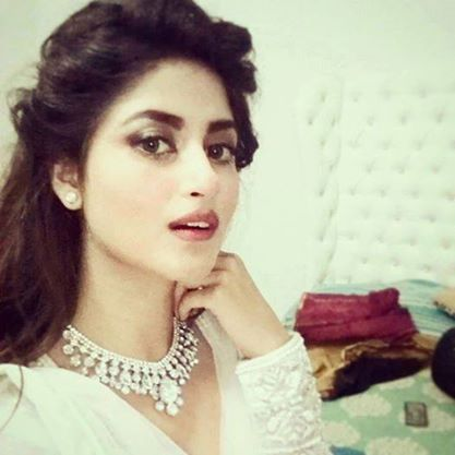 PAKISTANI actresss Sajal Ali in a white shaadi wear