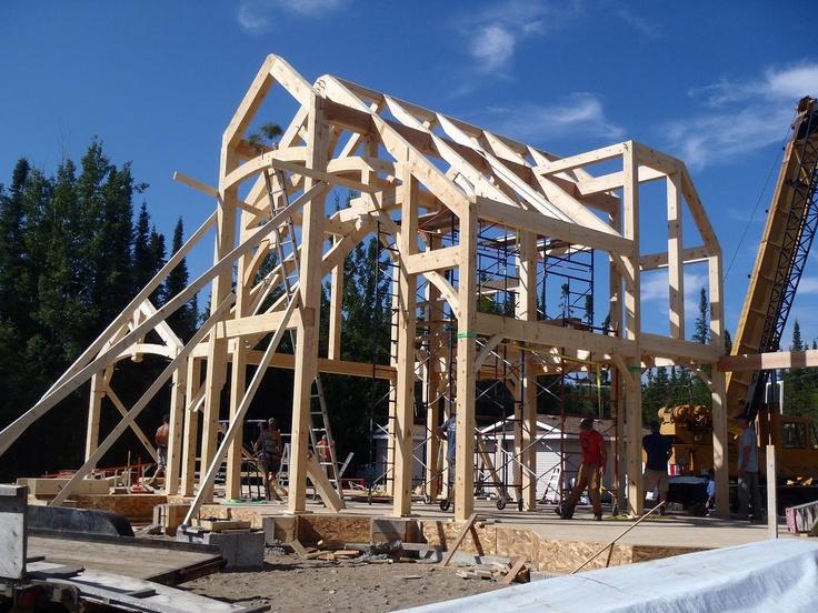 Naked Timber Frame  #TimberFrame #Log #Custom #DiscoveryDreamHomes #Progress