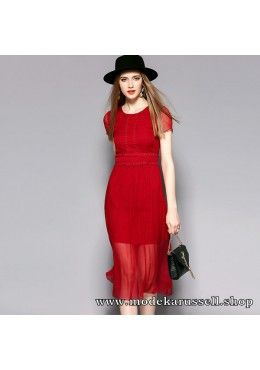 Elegantes Seiden Kleid Abendkleid Uta in Rot