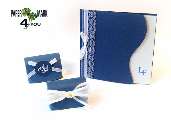 Lace Wedding Invitations_ Navy Blue Wedding by PaperMark4You