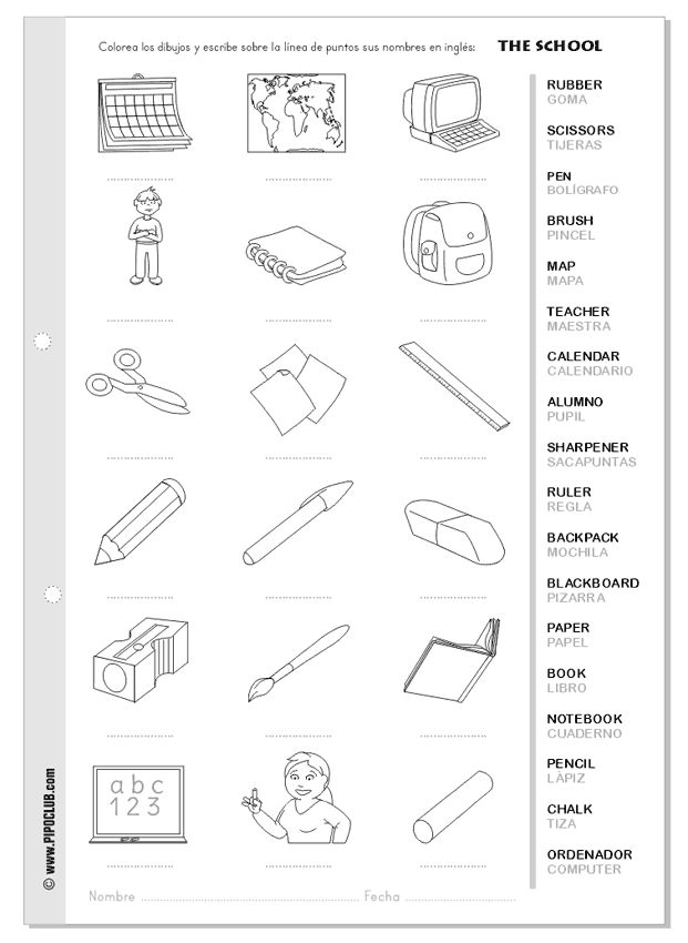 Classroom vocabulary - Pipo - Vocabulario del colegio