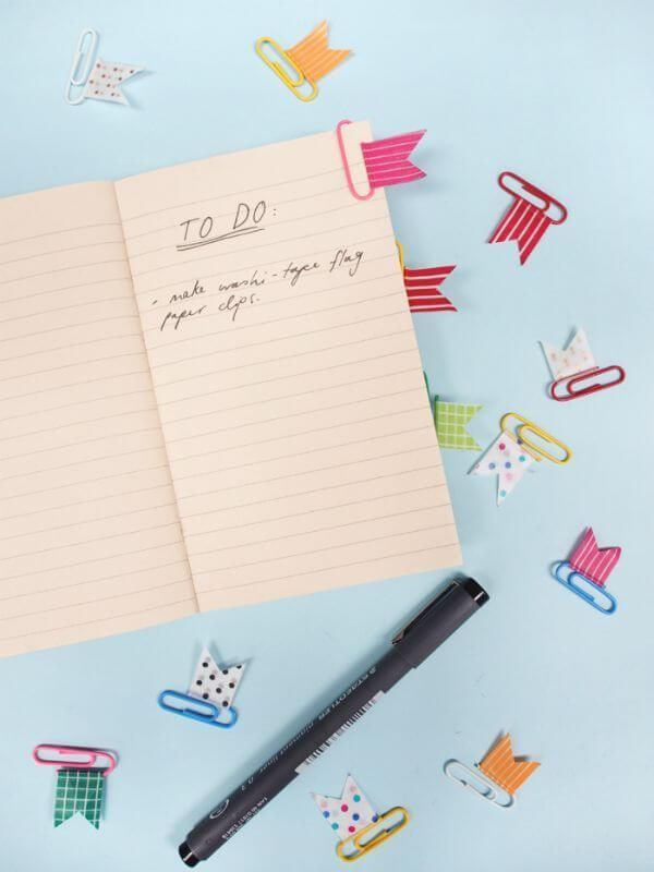 10 Amazing Back To School Washi Tape DIY's - washi tape paperclip flags- click through to read the rest of the projects