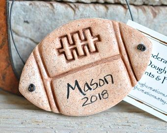 Personalized Football Salt Dough Child's Ornament by #cookiedoughcreations