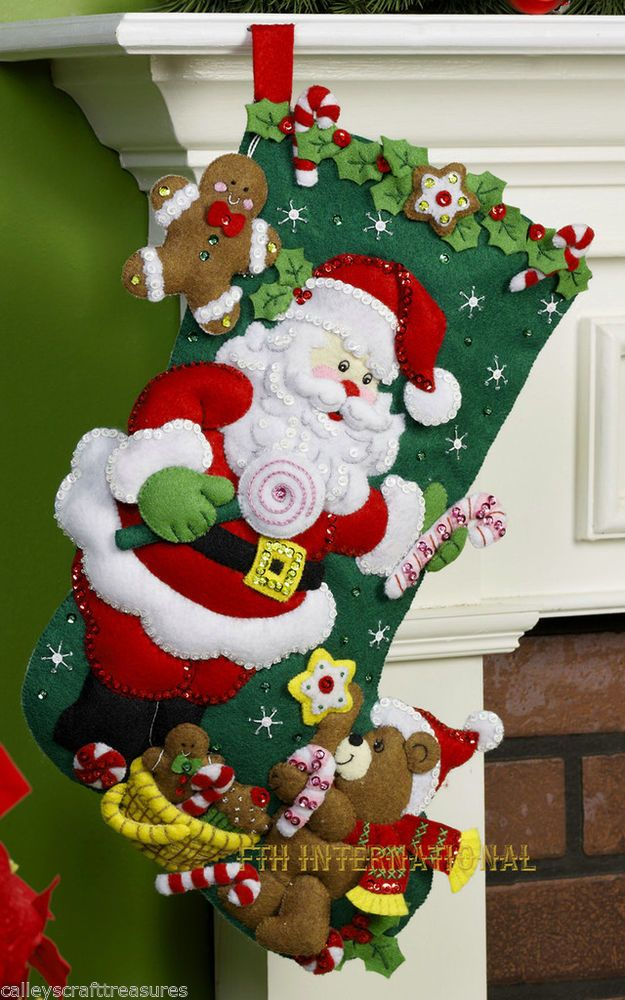 "Bucilla Santa & Teddy Bear ~ 18"" Felt Christmas Stocking Kit #86448, Candy Canes"