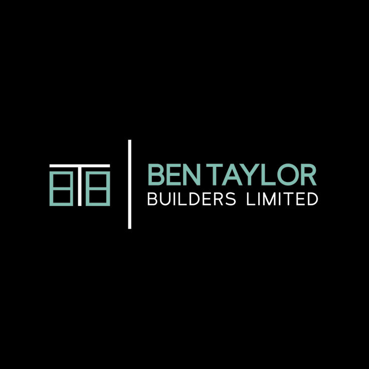 Ben Taylor Builders Ltd, logo design by Case In Point Design Studio. Clean, modern, blue, logo inspiration, symbol, typeface, industrial, building, branding, icon.