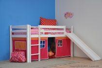 Halfhoogslaper met glijbaan en oranje-rode speeltent - Kidsgigant