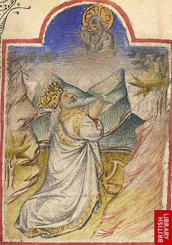 Miniature of King David praying to God, from a fifteenth-century French book of hours; symbolic details include David's crown and harp; Burney 336, f.110. (British Library)
