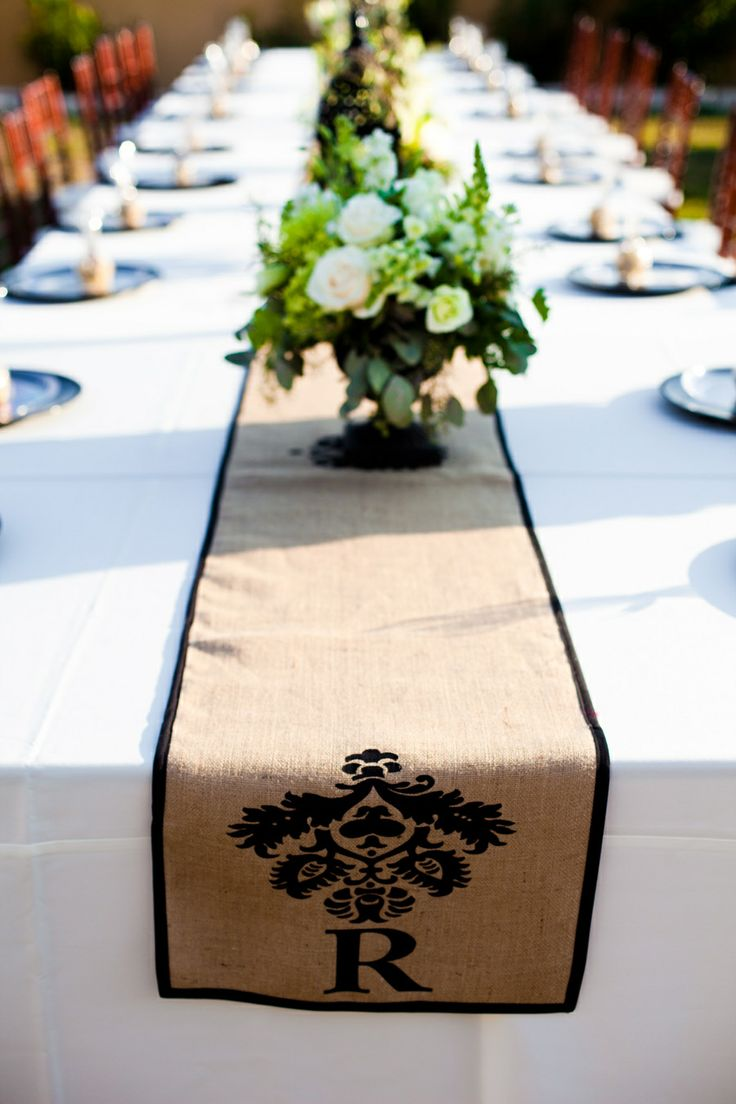 Love the monogrammed table runner, but not in burlap