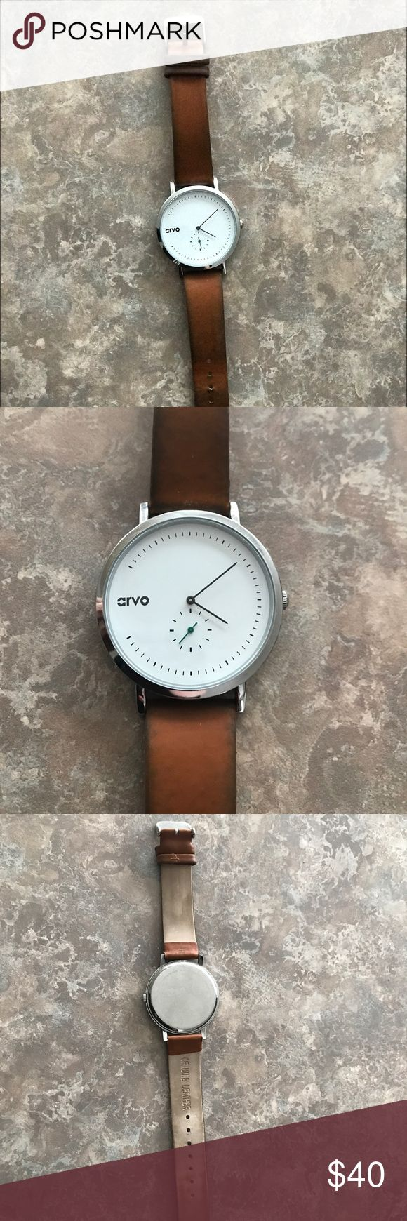 arvo watch arvo watch // genuine leather band, large face // needs battery but a great watch! // it's the larger of the two faces from their website! arvo Accessories Watches