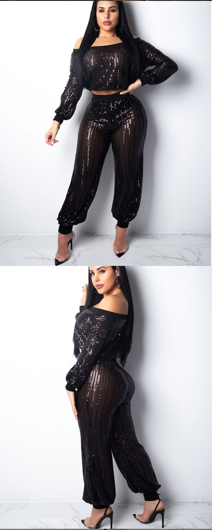 Off the Shoulder Sequined Two Piece Fashion Women Jumpsuit K9280