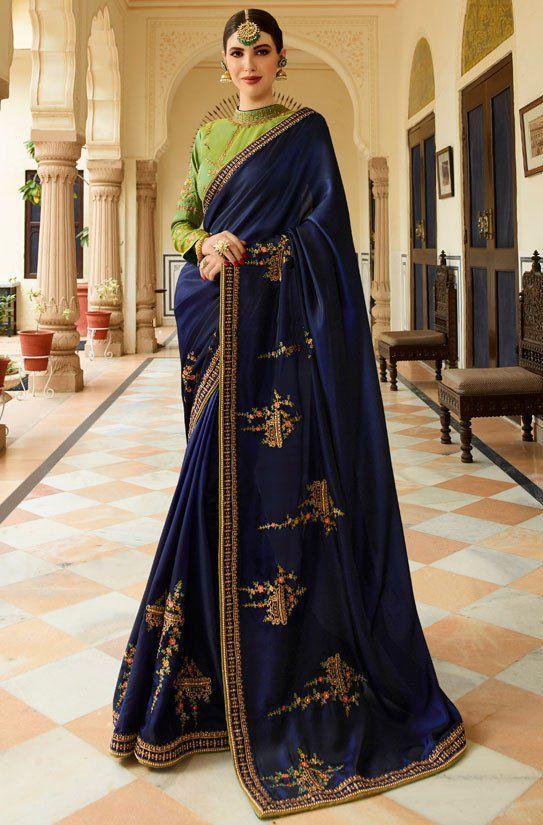 de182e40e Buy Royal blue Barfi silk saree Indian wedding saree double blouse in UK