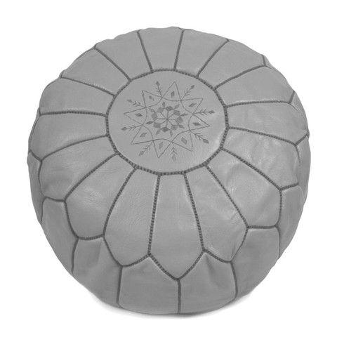 LET LIV - LET LIV Moroccan Leather Pouf - Grey