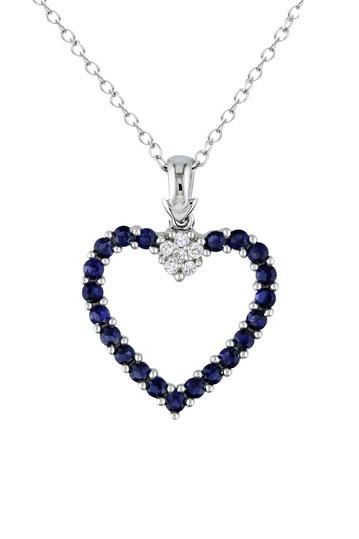 <3: Blue Sapphire, Diamonds, Silver, Diamond Pendant, Heart Pendant Necklace, Necklaces, Heart Pendants