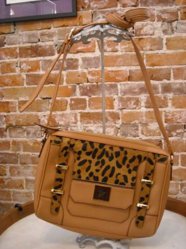 Sharif-Brown-Leather-amp-Leopard-Hair-Calf-Crossbody-Purse-NEW
