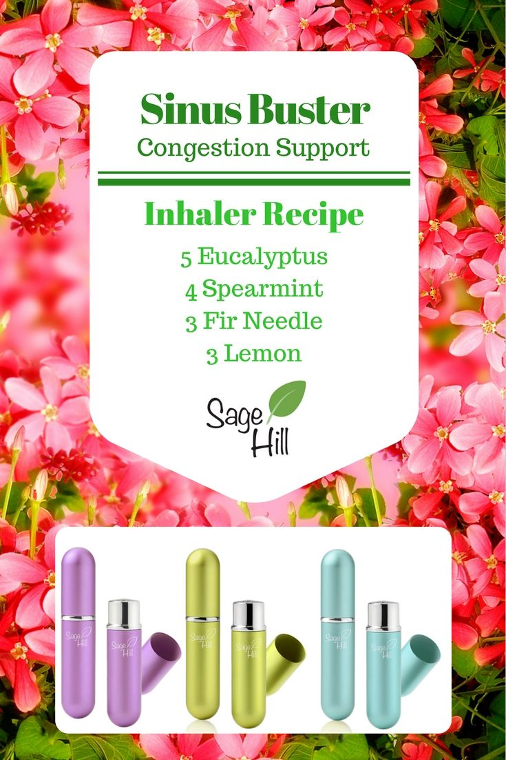 Congestion relief.  Essential oil inhaler recipe for stuffy nose, clogged sinuses, colds.