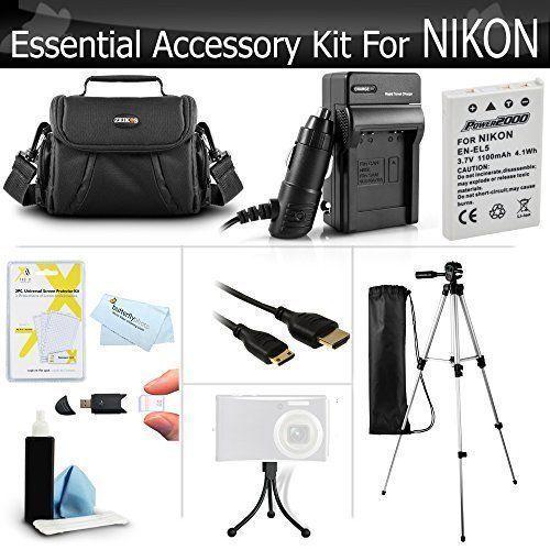 Accessory Kit Nikon COOLPIX P100 P500 P510 P520 P530 Battery Charger Case Tripod #AccessoryKitforNikon