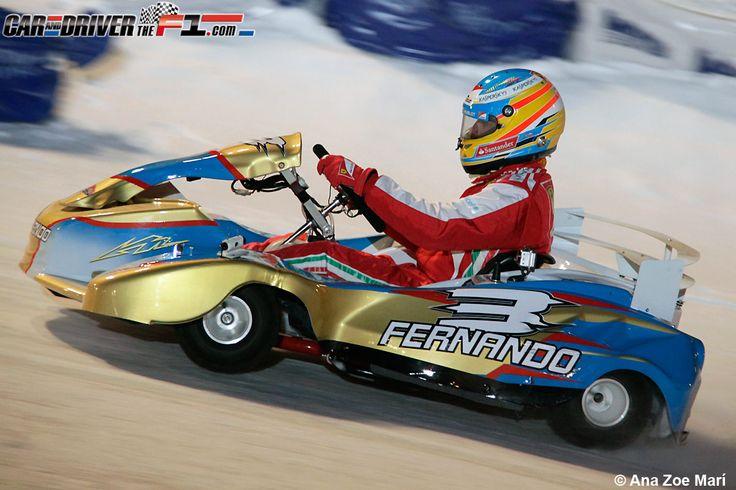 - Fernando Alonso en la carrera de karts sobre hielo en el lago helado de Madonna di Campiglio