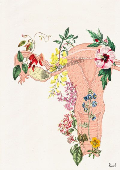 Uterus Flowery collage Woman gift Medicine student by PRRINT