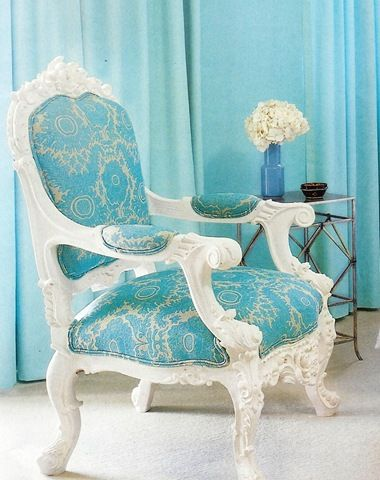 French blue Rococo chair. Love the fabric arm rests. This would really look good with grays and a magnolia white.