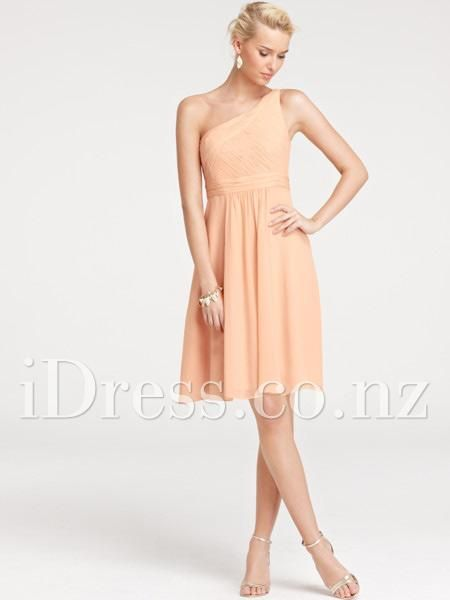 sleeveless one shoulder chiffon a-line shirred bridesmaid dress idress.co.nz