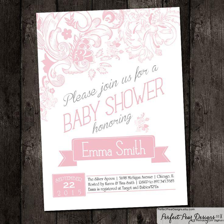 Baby Shower Invitation Vintage Flourish Flowers