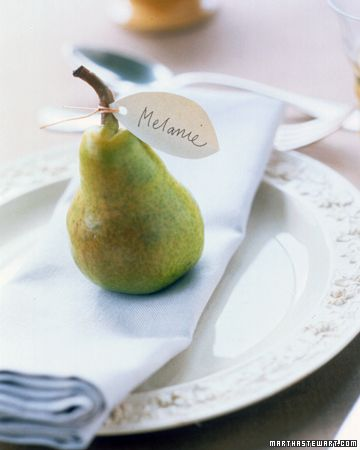 Long before the appetizer is served, your table will make a good first impression with these fall-fruit place cards. Here, small pears hold paper name tags punched with holes and tied in place with ribbon or twine. Any small fruit, such as crab apples or jack-be-little pumpkins, can be used.    Read more at Marthastewart.com: Table Decor