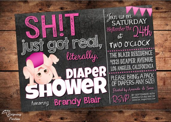 Funny ONE OF A KIND Diaper Shower Invitation for both men and women! Original invitation will say the word SHIT so please specify, if you rather