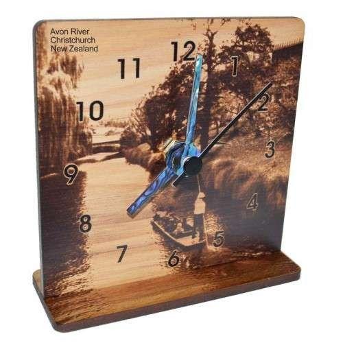 New Zealand Rimu Desk Clock - Christchurch