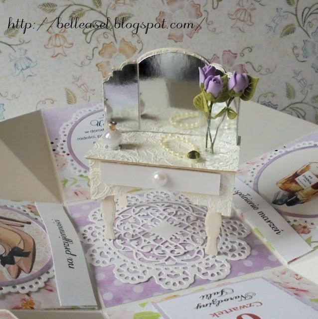 kartka na urodziny, exploding box, osiemanstka, birthday card, dressing table