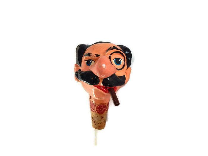 Groucho Marx Cork Head Bottle Stopper Vintage Kinki Bee Character Ceramic Head Bottle Cork Spout Barware Fun & Silly Mad Men Bar Stuff by LeasAtticSpace on Etsy