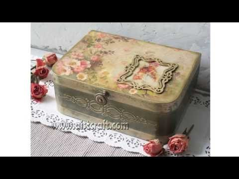 Decoupage tutorial - DIY. How to use french gilding wax. Vintage style. Shabby chic - YouTube
