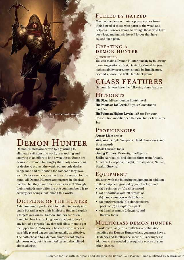 Demon Hunter V0 7 Dungeons And Dragons Classes Dnd 5e Homebrew Dungeons And Dragons Characters