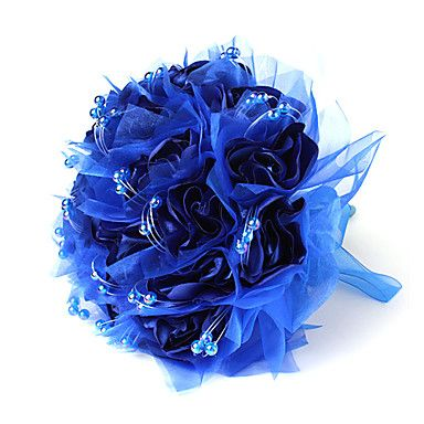 Satin / Cotton Round Shape Wedding Bouquet With Beads (More Colors) – USD $ 19.99