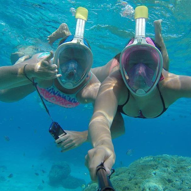 : Snorkeling in Bora Bora was a highlight of our lives   If you love our snorkel masks as much as we do check out @adrenoscubadiving  www.thegirlswhowander.com  #thegirlswhowander #borabora #tahiti #frenchpolynesia #snorkel #fish #gopro #photography #travel #nofilter #instatravel