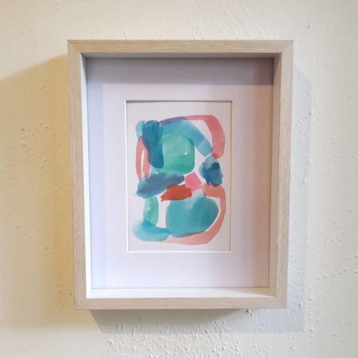 Watercolour in frame etsy aqua blush.