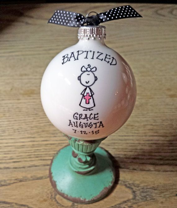 Baptism Ornament Cross Ornament Girl Baptism by HappyYouHappyMe
