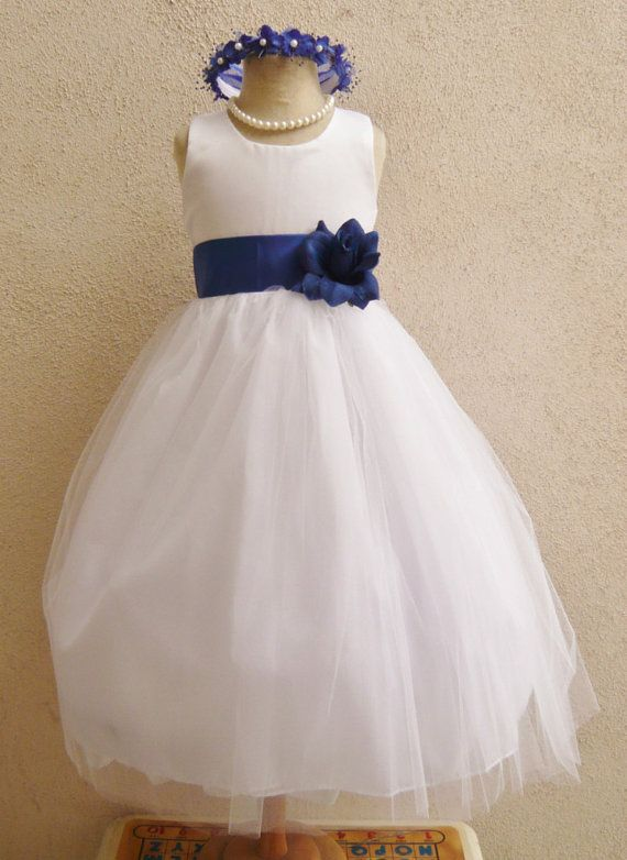 Flower Girl Dresses WHITE with Blue Royal by NollaCollection