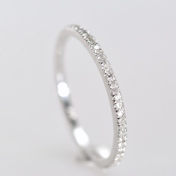 Wedding Band diamond band 15 mm 14K White Gold by ...