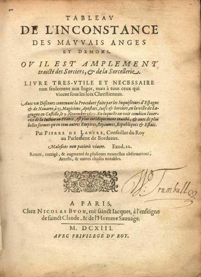 Portada de la edicion de 1613 del libro de Lancre