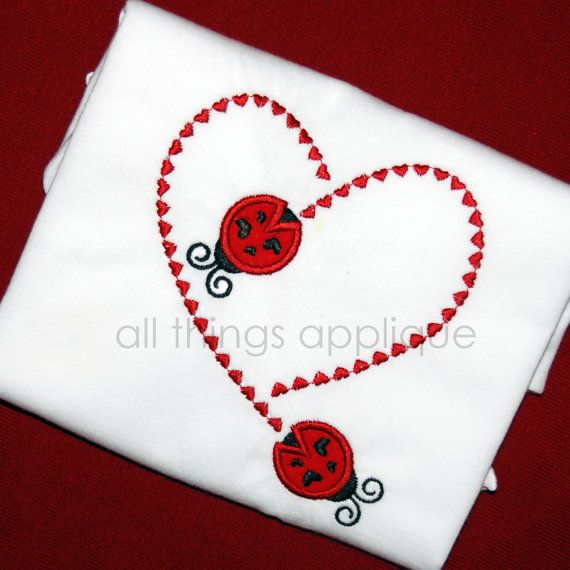 Ladybug Stitching Heart  Valentine Applique by allthingsapplique, $4.00