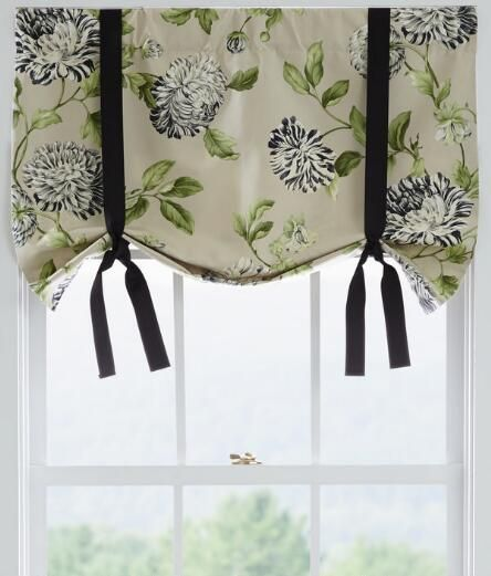 We love the look of a lush chrysanthemum print on our Whitney Floral Tie-Up Valance. #curtains