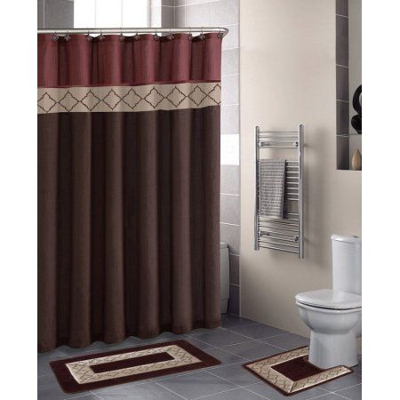 Dynasty Burgundy Diamond 15 Piece Bathroom Accessory Set 2 Bath Mats Shower Curtain 12 Fabric Covered Rings Diamonds