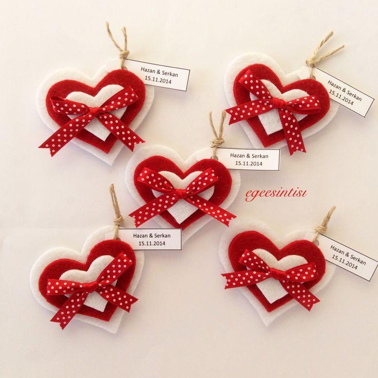Magnetlerimiz ❤️ #magnet #red #kalp #felt #feltro #feltcraft #craft #tasarim