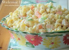 ♥ Shrimp Macaroni Salad Recipe Salads with shrimp, diced celery, old bay seasoning, vidalia onion, dill weed, celery seed, salt, pepper, fresh chives, mayonnaise, milk