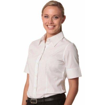 Women`s Cotton/Poly Stretch S/S Shirt Colours : Black   White Shirting / Ladies (M8020S_win)
