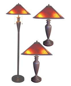 @Overstock - This set of Americana Mica Floor and Table Lamps is highlighted by Turn-of-the-century American Lighting craftsman design. Set includes one floor lamp and two table lamps Crafted...http://www.overstock.com/Home-Garden/Set-of-Three-Americana-Mica-Lamps/1612642/product.html?CID=214117 $110.59