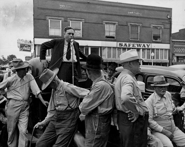 Gubernatorial candidate Gomer Smith talks to small gathering from the bed of a feed truck, Wagoner, Oklahoma, in June 1942